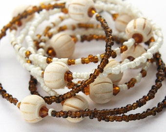 Extra Long Necklace, Wood and Glass Necklace, Natural Wooden Beads, Brown Beige Single Strand Necklace, Layer Necklace, Seed Bead Necklace