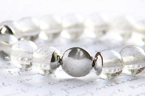 Rock Quartz Bracelet. Sterling Silver Bracelet. Natural Stone Bracelet, Boho Bracelet, Energy Bracelet, Stackable Bracelet, Modern Bracelet