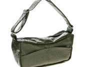 Faux Leather, Hobo, Slouch Bag, Handbag, Shoulder Bag - Emma in Green Ostrich pleather