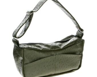 Faux Leather, Hobo, Slouch Bag, Handbag, Shoulder Bag - Emma in Green Ostrich pleather
