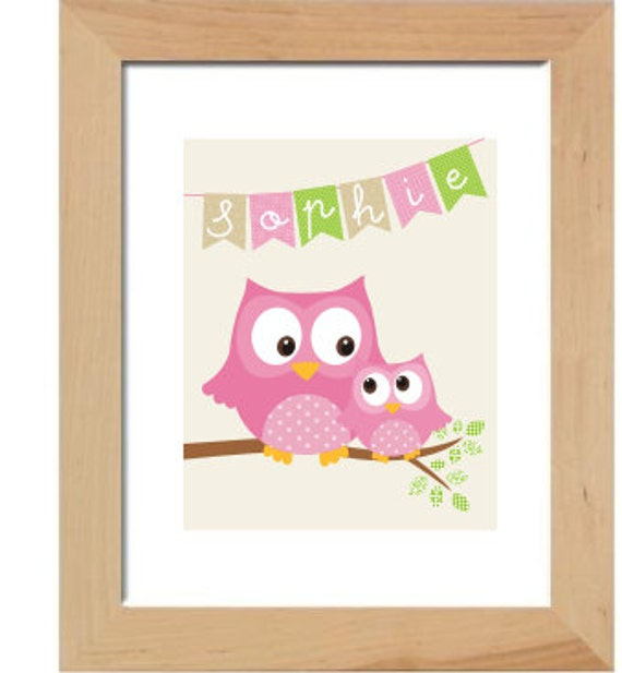 Personalized owl girl wall art