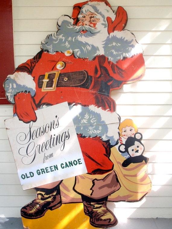 Vintage Life-Size Cardboard Santa