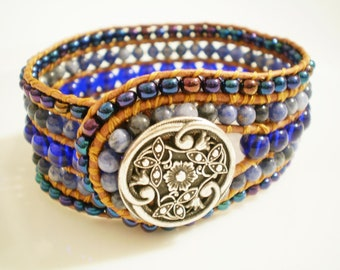 Leather Cuff Bracelet Gem Cuff Blue Bracelet Wide Beaded Leather Cuff