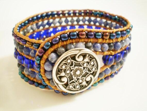 Leather Cuff Bracelet Gem Cuff Blue Bracelet Wide Beaded Leather Cuff