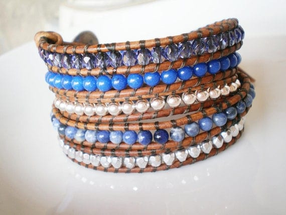 Leather Wrap Bracelet 5X Blue Gem Stones Sterling Silver   Button