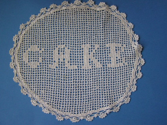 Vintage Crochet Lace Figural Word Cake Round Doily