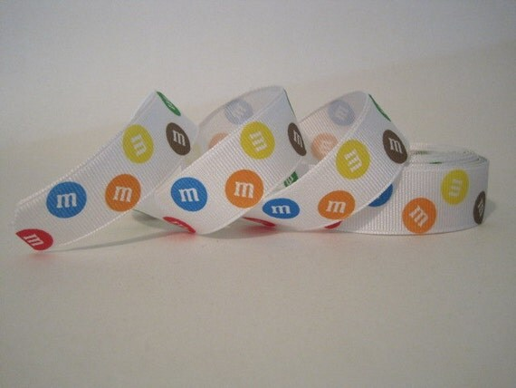 "5 yards Candy M and Ms Grosgrain Ribbon 7/8""-1"", M M Ribbon, Scrapbooking Ribbon, Hairbow"