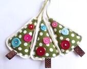 Christmas decorations, pudding, figgy, polka dot, linen, button, handmade, kitsch