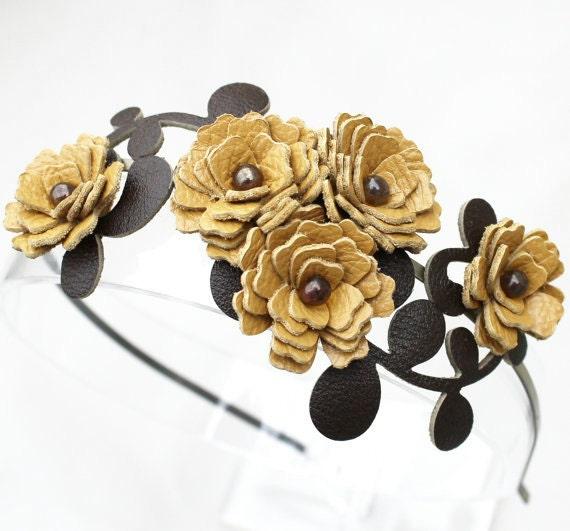 Yellow flower headband leather carnations garden wedding shabby chic prom wearable art