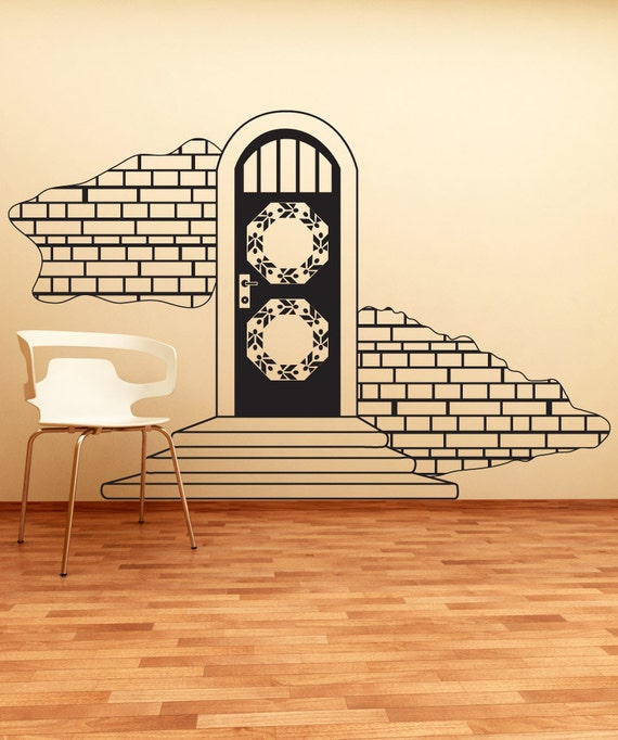 Vinyl wall decal sticker door with brick walls osdc639b for Brick wall decal mural