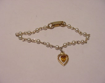 Vintage Rhinestone Heart And Faux Pearl Small Size Bracelet  12 - 403