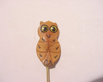Vintage Leather Owl Stick Pin  12 - 406
