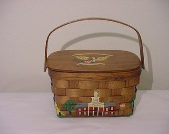Vintage 1976 Bicentennial Wood Basket Weave Purse   12  - 454