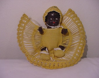 Vintage Composition Black  American Baby Doll In Hand Crocheted Bed  12 - 476