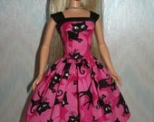 Handmade Barbie clothes - Pink and black cat dress