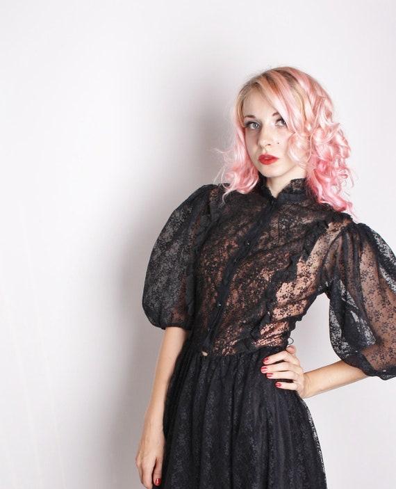 Victorian Steampunk Black Lace Dress / Black Lace Dress / Dress / Dresses /  Avant Garde / Romantic / Goth / Gothic / Lolita / 1226