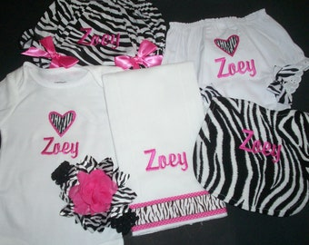 New Zebra Personalized  baby girl set