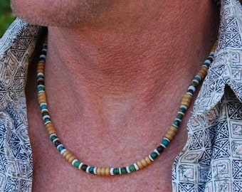Sexy Seminole - 19 Inch Handcrafted Gemstone Necklace -  Sea Shell, Chrysocolla & Wood - SGArtCA - Tribal Chic Jewelry