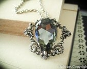 Melantha--Swarovski x-large black diamond pear crystal antique silver Neo Victorian metalwork necklace