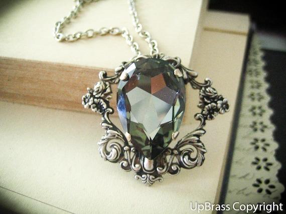Melantha--Swarovski x-large black diamond pear crystal antique silver Neo Victorian metalwork necklace