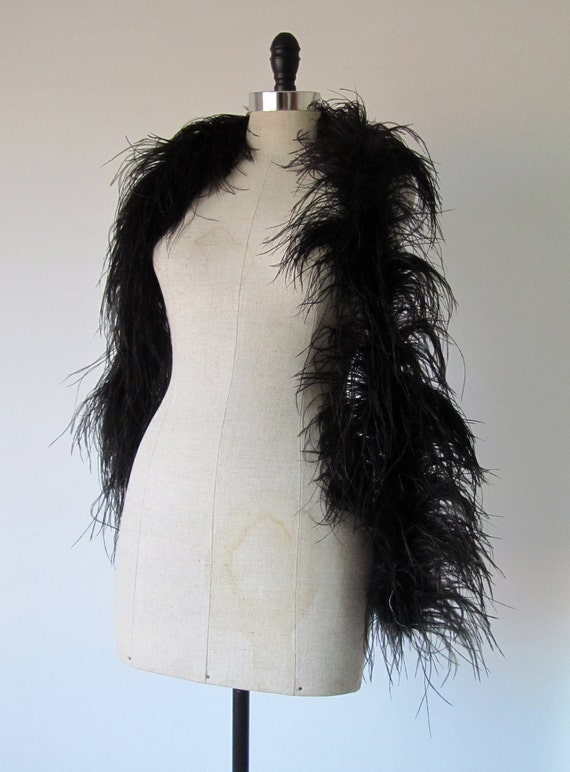 1920s Feather Boa - 20s Flapper Dress Wrap in Black Ostrich Feathers