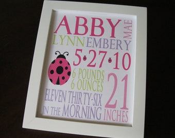 Birth Print Announcement, Nursery Art, Wall Decor, Baby Girl, Ladybug 8 x 10 ABBY