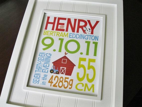 Nursery Wall Art - Farm Wall Art - Children Wall Art - Kids Farm Decor - Animal Wall Art - Farm Nursery - Birth Print - Birth Stats