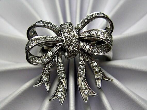 14k White Gold Trembler Bow Ring Pave Diamonds Movable 3D 8g Rare Movable Sz 9