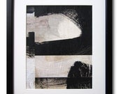 """Black and White / 8"""" x 10"""" / Collage / Original Abstract Painting / By Edmond Lacoste"""