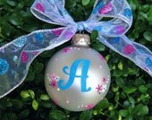 Birthday Initial Ornament - Personalized, New Baby, Christmas, Anniversary - Custom Hand Painted Initial, Monogrammed Gift, Bauble