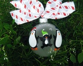 Penguin Family Ornament - Personalized Christmas Ornament - Hand Painted Bauble - Personalized Family Tree, Mom, Dad, Baby, Kids