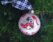 Santa Paws Puppy Dog Ornament - Personalized Dog Lover - Handpainted Glass Ornament, Christmas Bauble, Santa Clause Dog Ornament, Paw Print