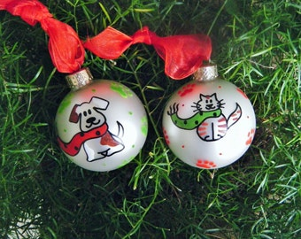 SALE - Cat and Dog Christmas Ornaments - Personalized Free - Cat Lover, Dog Lover Baubles, TWO ORNAMENTS, Pet Lover, Personalized Pet