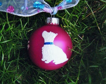 West Highland Terrier Ornament - Personalized Hand Painted Westie - White Dog Bauble - Glass Keepsake, Dog Art, Pet Lover White Terrier