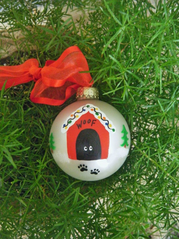 Dog House Christmas Ornament - Personalized Handpainted Ornament for Dog Lover, In the Dog House, Pet Lover, Dog Decoration, Woof, Paw Print