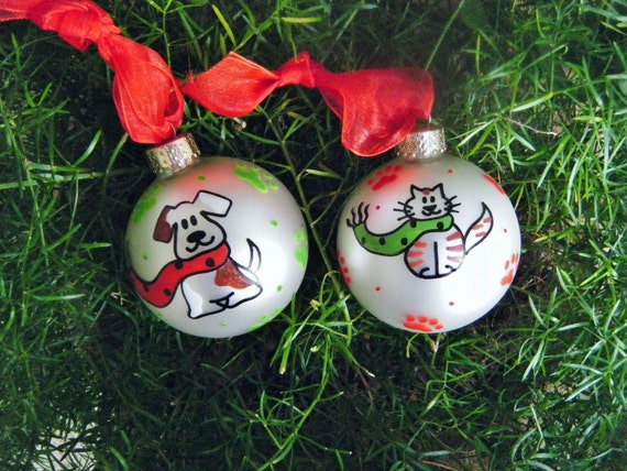 Sale cat and dog christmas ornaments personalized free for Christmas ornaments sale