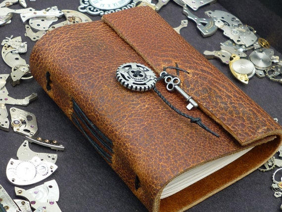 """Steampunk Little Rustic Leather Notebook with tiny key, """"On the go size"""", travel notepad"""