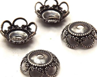 Antique Silver 10 MM Bead Caps (4) AS036