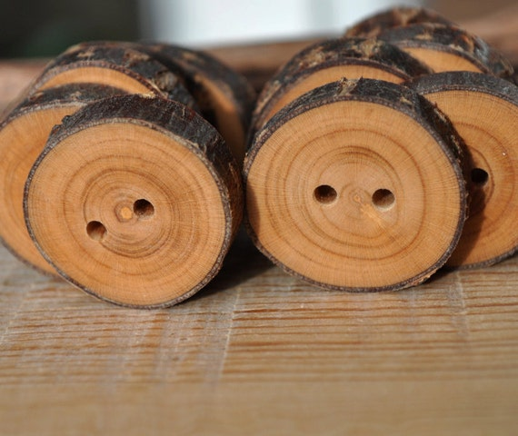 Wood Buttons - set of 10 APRICOT wooden buttons handmade and handcrafted from a tree branch wood... 2 holes... 1 1/16 inches