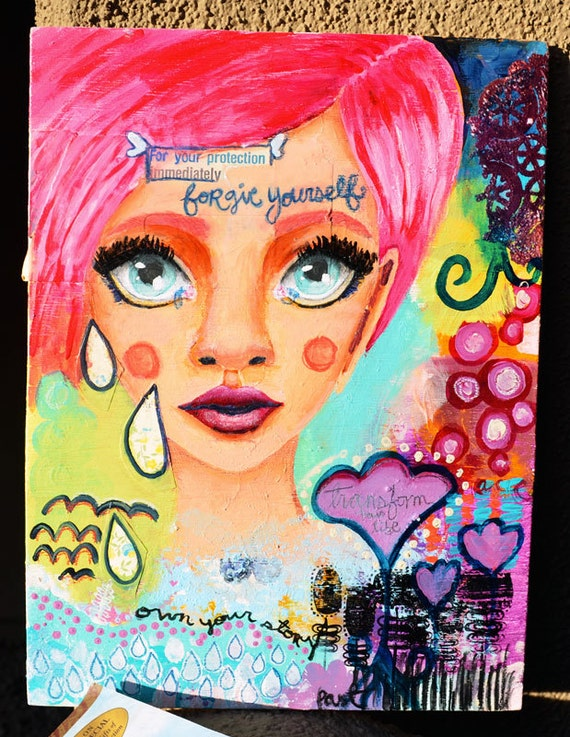 "Forgive Yourself: Mixed Media Painting PRINT 9""x12"""