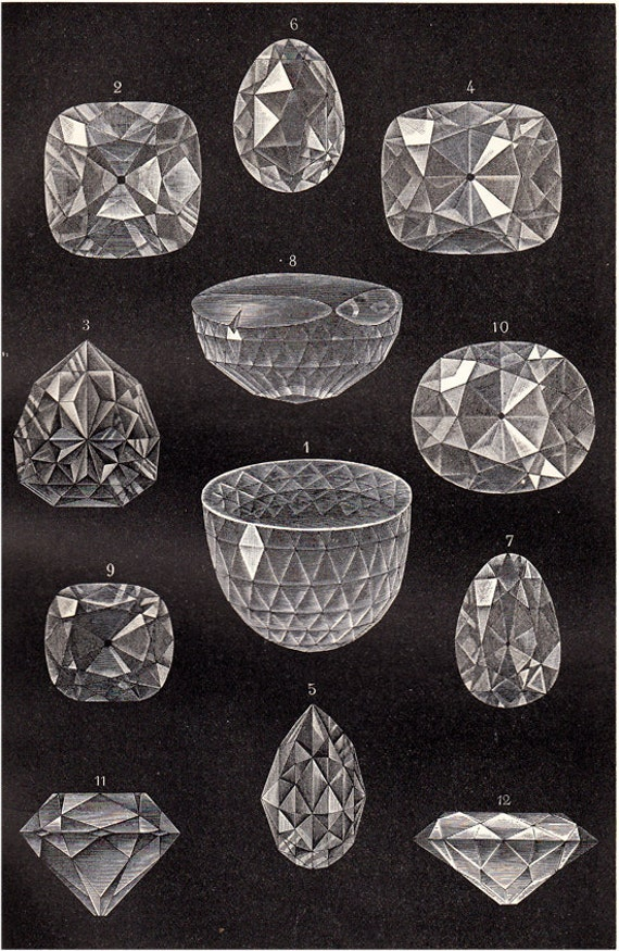 1908 Edwardian DIAMOND print, gem diamonds with different forms, antique lithograph