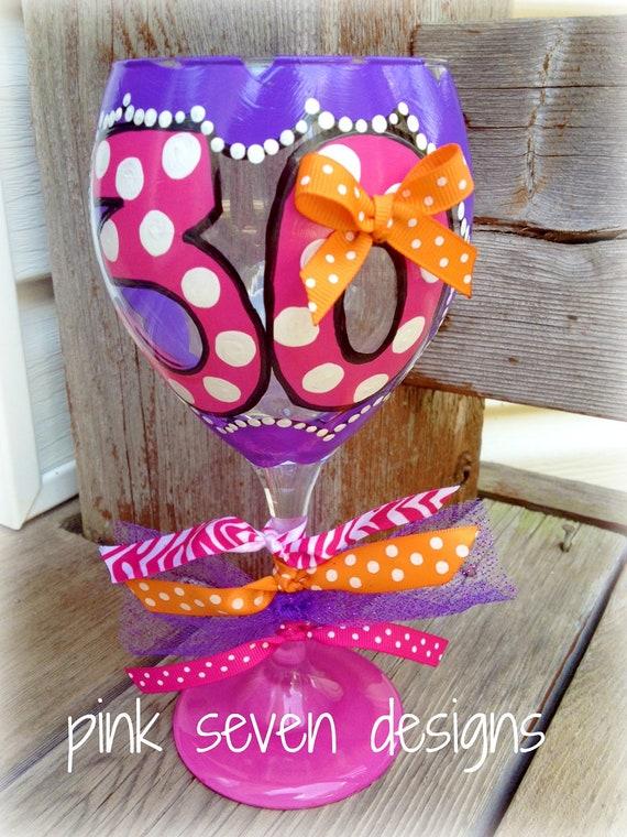 "Birthday ""Number"" Wine Glass - Polka Dots"