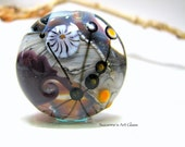 Focal Landscape Murrini Handmade Lampwork Glass Lentil Focal Bead - by Suzanne Hansen