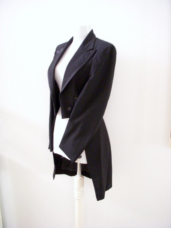 Vintage Black Tuxedo Jacket with Tails Steampunk Cut Away