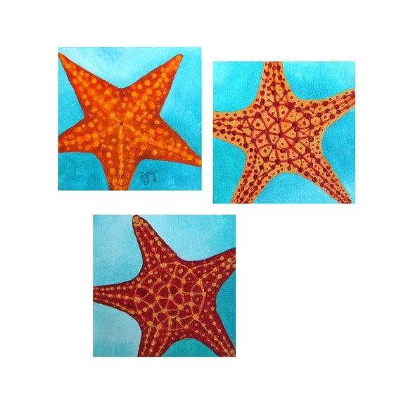 Original painting, 3 SEASTARS, Set of Three 6x6x1.5 Acrylic canvas, Beach decor, Starfish Paintings