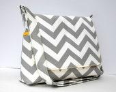 Women's Messenger Bag Gray Chevron Purse - Gray Zig Zag