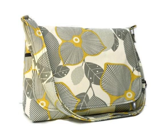 Crossbody Messenger Bag for Women,  Fabric Purse Gray and Yellow, Amy Butler Optic Blossom Bag, Cotton Pocketbook, Cross Body Bag, Handbag
