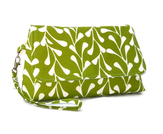 Clutch Wristlet with Strap and Flap - Avocado Green with White Vines