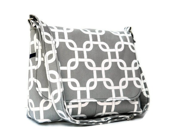Women's Messenger Bag / Cross Body Purse - Grey and White Geometric with Navy Blue