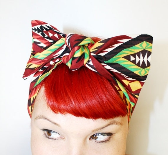 Bow hair tie, Vintage Inspired Head Scarf, Southwestern, Boho, Neon